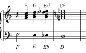 Chromatic bass downwards, sliding chords upwards