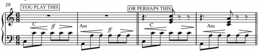This is what you play, placing emphasis in duration on the third  chord of this example
