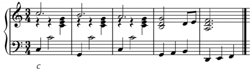 The chords from the bass and the treble blend together one after the other for this waltz treatment