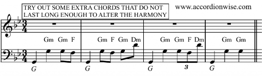 Some examples of an adjusted waltz accompaniment with momentary chord changes